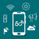 Smartphone with connectivity 5g technology. Vector illustration design stock illustration