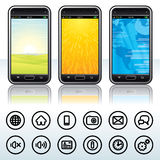 Smartphone with Contour Icons Stock Photography