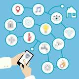 Smartphone controla el hogar elegante stock de ilustración