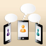 Smartphone conversation illustrated with speech bubbles Royalty Free Stock Photography