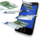 Smartphone Costs Money. Smartphone with flying 100 euro notes on the white background royalty free illustration