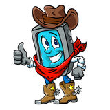 Smartphone cowboy cartoon,cellillustration Royalty Free Stock Photos