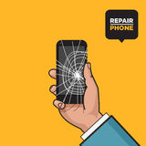 Smartphone with a cracked screen in a mans hand. Broken phone. Crack on screen. Vector illustration. Pop art style. Stock Image