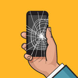 Smartphone with a cracked screen in a mans hand. Broken phone. Crack on screen. Vector illustration. Pop art style Stock Photos