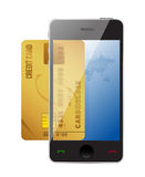 Smartphone with credit card, Royalty Free Stock Photos