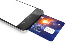 Smartphone and a credit card for mobile payment Royalty Free Stock Photo