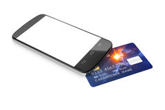 Smartphone and a credit card for mobile payment Royalty Free Stock Image
