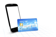 Smartphone and a credit card for mobile payment Stock Image