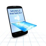 Smartphone and a credit card for mobile payment Stock Photo