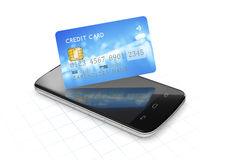 Smartphone and a credit card for mobile payment Stock Images