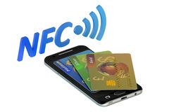 Smartphone with credit card, NFC Stock Photos