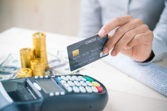 Smartphone and credit card Stock Image