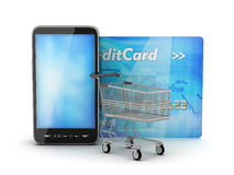 Smartphone, credit card and shopping cart Stock Photo