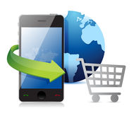 Smartphone, credit card and shopping cart Royalty Free Stock Images
