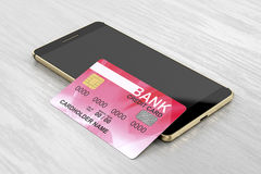 Smartphone and credit card Royalty Free Stock Photography