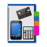 Smartphone with creditcard and calculator on notebook,creative b Royalty Free Stock Photography