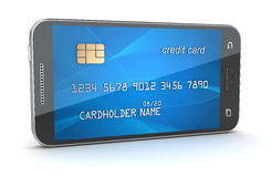 Smartphone with creditcard screen Royalty Free Stock Photos