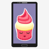 Smartphone with Cupcake in flat cartoon style.  Royalty Free Stock Photography