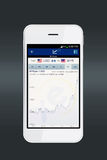 Smartphone with currency converter app. Royalty Free Stock Photo