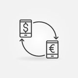Smartphone currency converter icon Royalty Free Stock Images