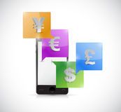 Smartphone and currency symbols. illustration Royalty Free Stock Photo