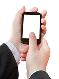 Smartphone cut out screen in businessman hands Stock Image