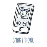 Smartphone. Cute doodle sketch  on white Royalty Free Stock Photography