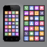 Smartphone d'écran tactile avec des graphismes d'application Images libres de droits