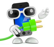 Smartphone 3d держит зеленую штепсельную вилку Стоковые Изображения