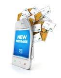 smartphone 3d с облаком сообщений Стоковое Изображение