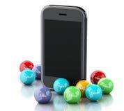 smartphone 3d avec les bulles sociales de media Photographie stock libre de droits