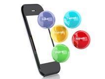 smartphone 3d avec les bulles sociales de media Image libre de droits