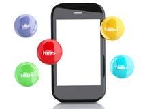 smartphone 3d avec les bulles sociales de media Images libres de droits