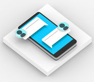 Smartphone 3D with blue massage icon on white background Royalty Free Stock Photo