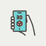 Smartphone with 3D box thin line icon. Smartphone with 3D box icon thin line for web and mobile, modern minimalistic flat design. Vector icon with dark grey Stock Images