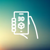 Smartphone with 3D box thin line icon Stock Photography