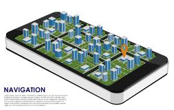 Smartphone 3d with a city and a navigation pointer on the white. Background. Mobile navigation. Urban navigation. Place for text. Vector illustration Stock Photography
