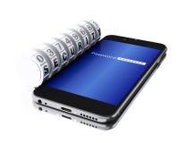 smartphone 3d con el candado de la combinación Foto de archivo libre de regalías