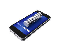 smartphone 3d con el candado de la combinación Imagen de archivo libre de regalías