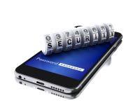 smartphone 3d con il lucchetto di combinazione Fotografie Stock Libere da Diritti