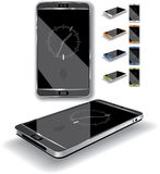 Smartphone 3D. Vector illustration of a touch-screen smartphone. Multiple color choices, generic elegant, glossy design. AI8 vector file included Royalty Free Stock Images