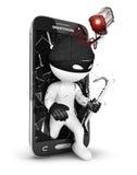 smartphone da segurança dos povos 3d brancos Imagem de Stock Royalty Free