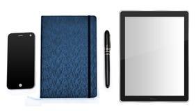 Smartphone, dagbokpenna och smart minnestavlaPC Arkivbilder