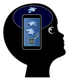 Smartphone damage the Brain Stock Images