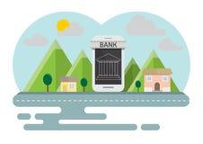 Smartphone, das on-line-Konzeptlandschaft ein Bankkonto hat Lizenzfreie Stockfotos