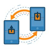 Transferring data from one mobile to other. Smartphone data sharing and transfer concept icon illustration isolated . Transparent Royalty Free Stock Photo