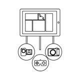 Smartphone database server icon stock. Illustration Royalty Free Stock Photo