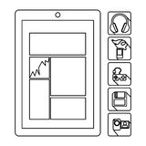 Smartphone database server icon stock. Illustration Royalty Free Stock Photography