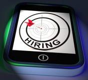 Smartphone de alquiler exhibe el reclutamiento en línea para Job Position ilustración del vector