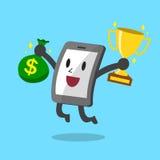 Smartphone de bande dessinée tenant le sac de trophée et d'argent Photographie stock
